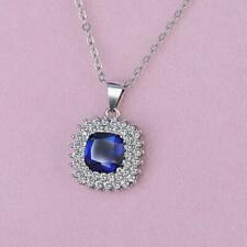 Sapphire Blue CZ Silver SP Flower Lucky Clover Pendant Necklace