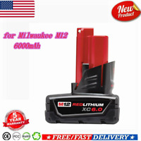 for Milwaukee M12 Battery 12V 6000mAh Replacement 48-11-2460 Cordless Power Tool