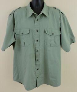 CABELA'S SAFARI SERIES Men Sz XL Tall Olive Green Short Sleeve Button Down Shirt
