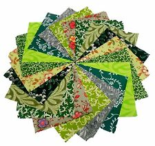 """40 5"""" Quilting Fabric Squares Green Grass 2 /Shades of Green!!"""