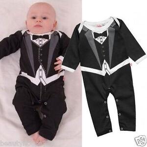 Baby Boy Funky Print On Tuxedo Bodysuit Babygrow Christening Wedding Formal