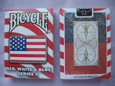 Rare Bicycle Red, White & Blue Deck Series 2 Playing Cards Magic Square Design