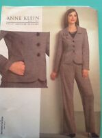 Anne Klein Pattern V1063 Jacket Pants Suit Fitted 6 8 10 12 Uncut New Vogue