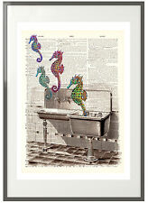 'Seahorses in the Sink' Upcycled Print: Vintage Dictionary Art - Bathroom Print