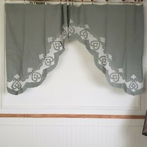 Vintage JC Penney Linen Swag 70 W x 38 L Curtains with Sheer design Sage Green 2