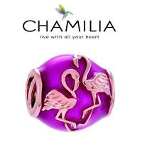 CHAMILIA 925 sterling silver ROSE GOLD & ENAMEL FLAMINGO charm bead, HOLIDAY