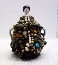 Antique Memory folkart jug/crock Marbles figures musket balls more handled jug