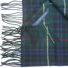 RALPH LAUREN Webster WOOL THROW BLANKET $355 TARTAN PLAID GREEN DUKE DEVONSHIRE