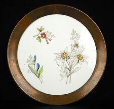 Assiette en porcelaine et  cuivre, curiosité époque & origine à déterminer Plate