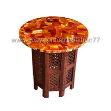 Round Carnelian Table Marble Inlay Side Table Top Pietra Dura Modern Home Decor