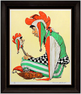 Norman Rockwell Color Lithograph Jester Saturday Evening Post Signed Artwork SBO