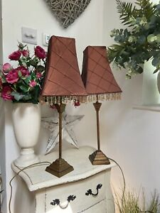 Kipfold Pair Vintage Style Gold Column Table Lamps Bronze Beaded Shades