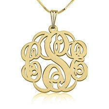 Gold Monogram Necklace 1.2″ Personalized  Monogrammed Necklace - oNecklace ®