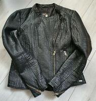 Tigha Damen Biker Lederjacke Schwarz Sheep Leather  Größe L