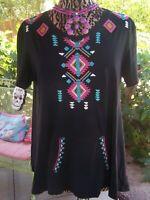 $168~Embroidered Festival Boho Southwestern Tunic~M/L~Double D Ranch~EUC