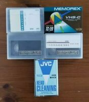 4 Memorex VHS-C Camcorder Compact Video Cassette Tapes & JVC Head Cleaning Tape