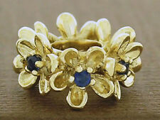 Bd092 Superb 9ct Solid Yellow Gold Natural Sapphire Blossom Garland Bead Charm