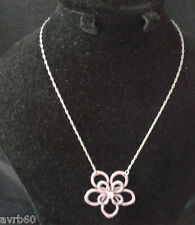 necklace flower pendant with pink stone on16 inch silver colour chain  new