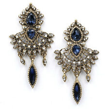 ANTHROPOLOGIE ELEGANT BLUE CHANDELIER DROP EARRINGS NEW