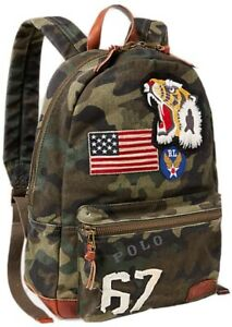 NWT Rare Polo Ralph Lauren Men's Tiger Patchwork Camo Canvas Backpack