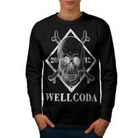 Wellcoda Wellcoda Skull Mens Long Sleeve T-shirt, Cross Graphic Design