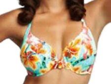 New Hawaii Print Bikini Bra Top UK 34D Fantasie Hula Halterneck Turquoise Floral