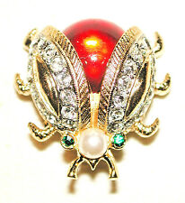 VINTAGE LADYBUG PIN RUBY RED BODY W SPREAD PAVE WINGS SPHINX for KJL