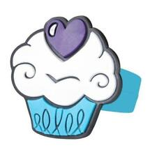 GIRLS PURPLE HEART CUPCAKE CAKE RUBBER FINGER RING - KIDS CHILDS JEWELLERY GIFT