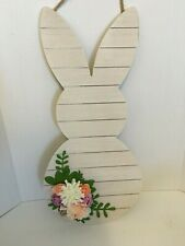 "Easter Bunny Wood White Looks Like Shiplap with Floral Bouquet 22"" x 10"" New"