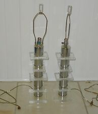 RARE PAIR of 70's MODERNIST BAUER ARCHITECTURAL STACK LUCITE & CHROME TABLE LAMP
