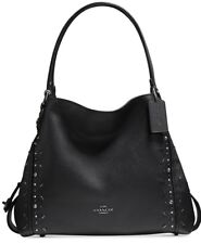 Coach 22794 Edie 31 Leather Shoulder Handbag Prairie Rivets BLK Copper/blk