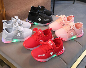 Kids Boys Girls Led Light Up Shoes Trainers Luminous Flashing Shoes Sneaker Size