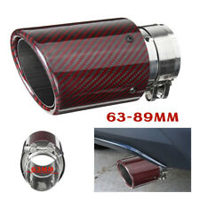 2.3'' In 3.5'' Out Red Carbon Fiber Car Exhaust Pipe Tail Muffler End Tip Glossy