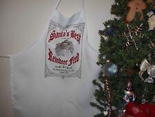 Childrens apron,Christmas apron, Santa apron, cook apron, Holiday apron, white