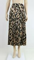 NEW LOOK Womens Brown Leopard Print Casual Long Pleated Midi Skirt UK 6 to 18