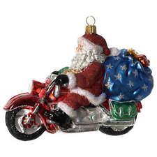 Babbo Natale su Motocicletta addobbo vetro soffiato Albero Natale