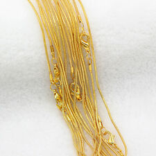 "Hot New Wholesale Lots 5/10Pcs Gold Plated Soft Snake Chain Necklace 16""-24"""