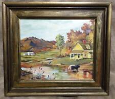 Vintage Signed Farm Barn Cow Rural Landscape Oil Painting M Brockman Wisconsin