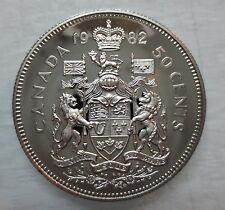 1982 CANADA 50 CENTS PROOF HALF DOLLAR HEAVY CAMEO COIN