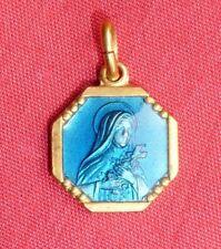 ancienne médaille pieuse religieuse émaillée de la VIERGE MARIE dorée