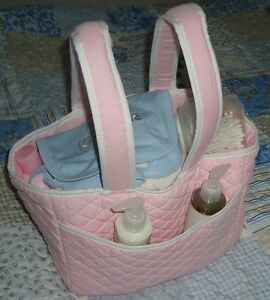 Gorgeous Quilted Pink Baby Nappy / Bottle / Organiser Travel Bag by REMARQUE