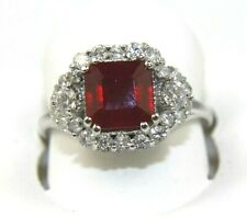 Emerald Cut Ruby & Diamond Halo Solitaire Lady's Ring 14k White Gold 3.49Ct