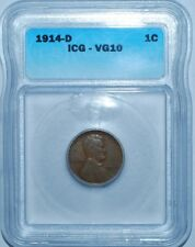 1914 D ICG VG10 Lincoln Wheat Cent Penny