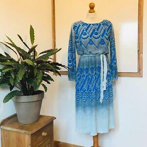 Vtg 70s Blue Art Deco Print Finely Pleated Tie Belt Balloon Sleeve Dress 12 14