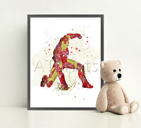 IRON MAN MARVEL Print Poster Disney Watercolour Framed Canvas Wall Art Nursery