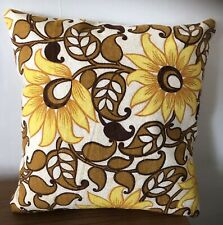 Vintage 1970's Cushion Cover Yellow Floral Mid Century Ooak Retro Home