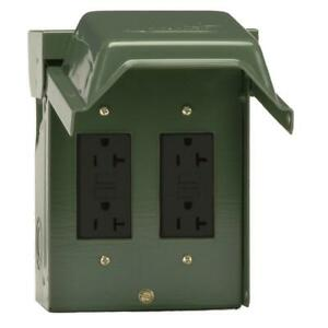 GE 2-20 Amp Backyard Outlet with GFCI Receptacles Electrical Power Outlet Box
