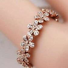 GENUINE S925 ROSE GOLD DAZZLING SPARKLING DAISY FLOWER PANDRA RING SIZE - SALE