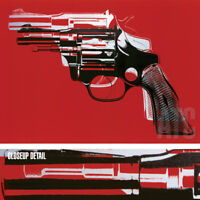 """40W""""x29H"""" GUNS, 1982 by ANDY WARHOL - FIREARM CONTROL WEAPON CHOICES of CANVAS"""