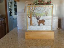Decorative Glass Block on Wood Stand ( Hand-Painted Deer/Winter) Lights